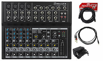 Mackie Mix12FX 12-Channel Compact Mixer W/FX Proven Performance + Free Cables