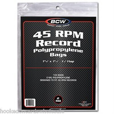 200 BCW Record Covers 45 rpm Plastic Outer Bags Holders with flap