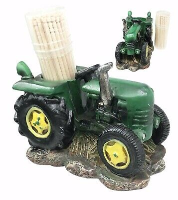 Green Tractor Toothpick Holder with Toothpicks Set Home Kitchen Table Gift Decor