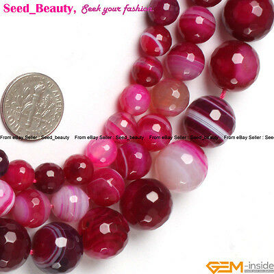 """Natural Stone Round Faceted Striped Agate Gemstone Beads For Jewelry Making 15"""""""