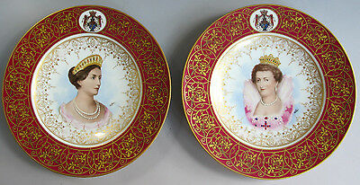 Pair of Antique BOHEMIAN Plates  Marie Medici & Queen Louise of Austria