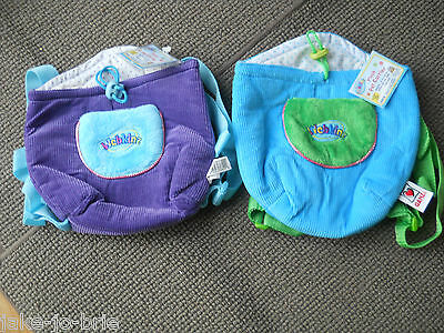 Set of 2 WEBKINZ Plush Pet Carriers Blue Purple Ganz Lined Backpack Holder NEW