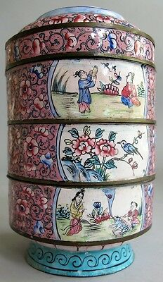 Unique 19th C. CHINESE Hand-Painted Enamel over Brass 4-Tier Box  c. 1890   vase