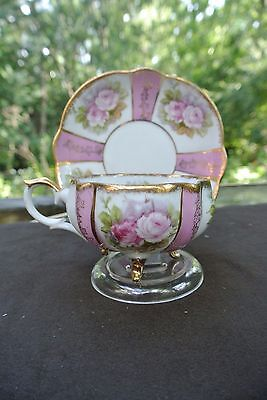 Vtg 3 Footed Napco Hand Painted Pink Roses Cup and  Saucer