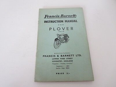 Vintage Francis Barnett Plover Motorcycle Instruction Owner's Owners Manual