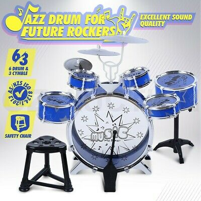 13Pc Kids Junior Jazz Drum Kit Musical Set Children Mini Big Band Play Toy Music