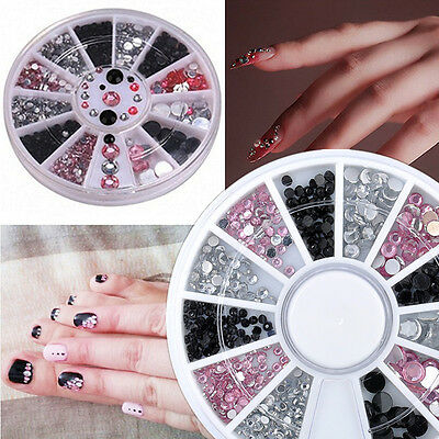 3D Nail Art Tips gems 3 COLORS AB Crystal Rhinestone Decoration Wheel DIY New