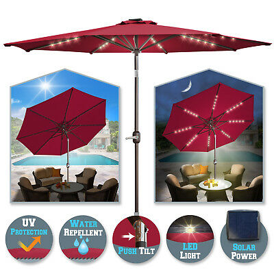 9 Ft 8 Ribs Patio Outdoor Aluminium Umbrella Solar Led Garden