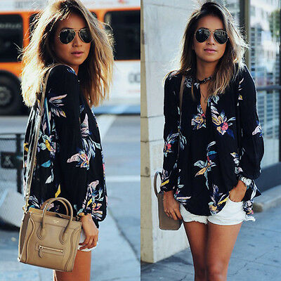 Fashion Womens Summer Floral Top Long Sleeve Shirt Blouse Casual Tops T-Shirts