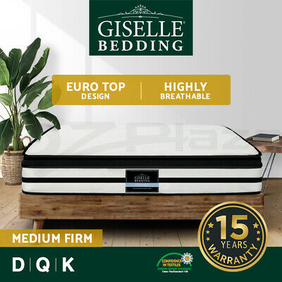Giselle Bedding QUEEN DOUBLE KING Mattress Bed Euro Top Pocket Spring Foam