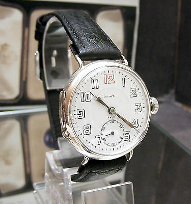 Antique Zenith Solid 935 Silver C1918-20 Mans Trench Watch~Serviced~Minty Dial~