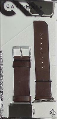 Case Mate Leather Smartwatch Band for Apple Watch Sport & Edition 42mm Brown