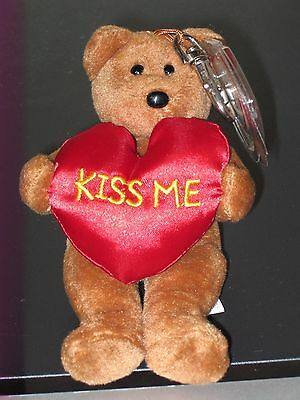 "Ty Valenteenie Beanie Baby ~ KISS-ME the (5.5"") Bear ~ MINT with MINT TAGS"