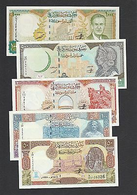 Set 5pcs Syria 50 100 200 500 1000 Pounds (1997-98 Issue) P107~111 - UNC