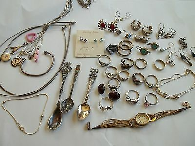 sterling silver jewerly lot, 192 g weight,wear,pre-owned cnd,charms,rings,chains