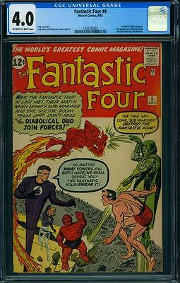 Fantastic Four 6 Cgc 4.0 - Ow/w Pages - 2Nd Doctor Doom