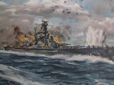 "Vintage WWII Naval Poster Print 28"" x 22"" Battle of Santa Cruz Dwight Shepler"