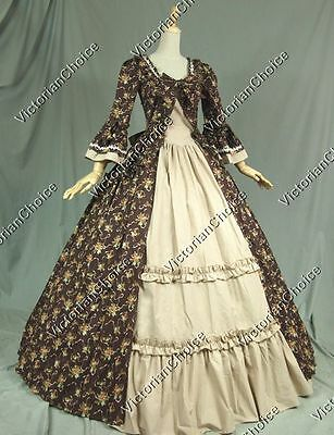 Colonial Victorian Floral Dress Gown Theater Princess Reenactment Costume 257
