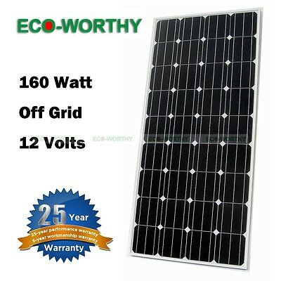 160W Mono Solar Panel Module 12V RV Photovoltaic for Home Power Battery Charge