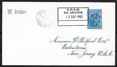 Netherlands covers 1952 Shipcover KNSM SS ARIADNE /Turks Islands