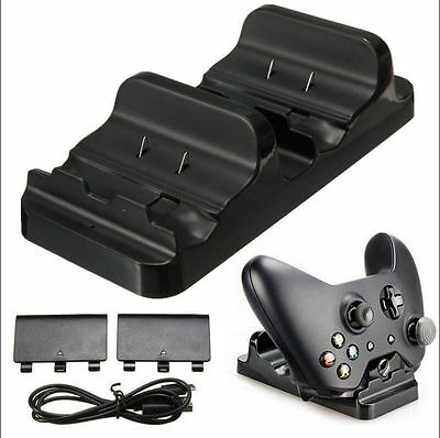 Dual USB Charging Charger Cradle Dock For XBOX ONE + 2 Rechargeable Batteries