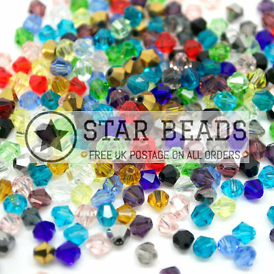 500 Faceted Bicone Crystal Glass Beads Mixed 4Mm - By Star Beads