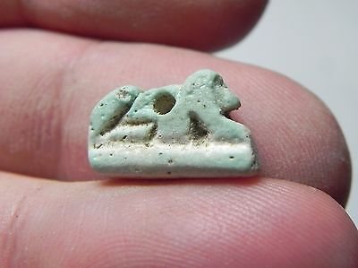 Zurqieh -Tat42- Ancient Egypt , Nice Faience Lion Amulet . 600 - 300 B.c