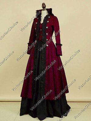 Victorian Edwardian Military Coat Dress Steampunk Vampire Halloween Costume 176