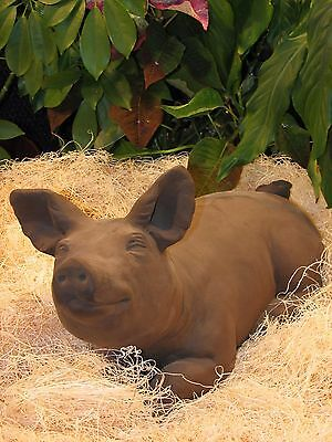 "LARGE PIG STATUE Outdoor Garden PORKY PIGLET 20"" CEMENT Yard Decor Ears Up"