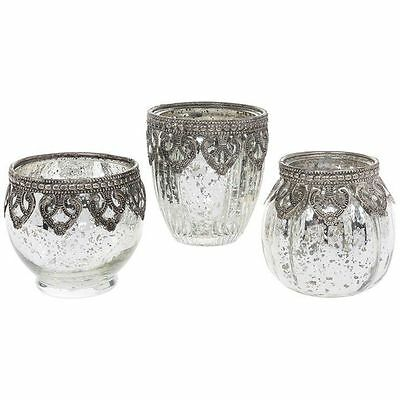 Set Of 3 Vintage Lace Tealight Candle Holders Jars Silver Antique Effect Chic