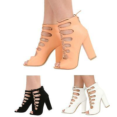 Womens Ladies High Heel Zip Up Peep Toe Cutout Lace Up  Sandal Shoes Size 3-8