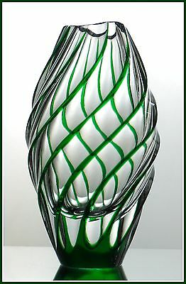 Contemporary EMERALD GREEN Vase CUT TO CLEAR CASED LEAD CRYSTAL Swirls GERMANY