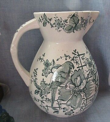 Antique Large Hand Painted Flowers & Bird Porcelain Ceramic Water Pitcher Jug