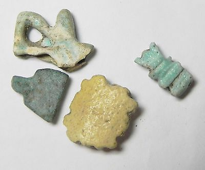 Zurqieh -Tat82- Ancient Egypt , Lot Of 4 Small Faience Amulets . 600 - 300 B.c