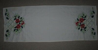 Vintage Table Runner Hand Embroidered Poinsettia Flower Basket Pattern Holidays