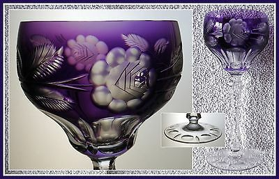 Antique AMETHYST PURPLE Wine Glass Goblet Hock CUT TO CLEAR 24% CRYSTAL Silesia