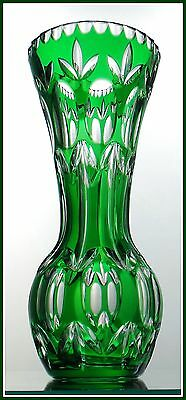 EMERALD GREEN Vase CUT TO CLEAR CRYSTAL Nachtmann BAMBERG Bavaria GERMANY