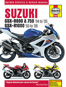 Suzuki GSX-R600&R750 04 to 05/R1000 03to 08 Haynes Service and Repair Manual New