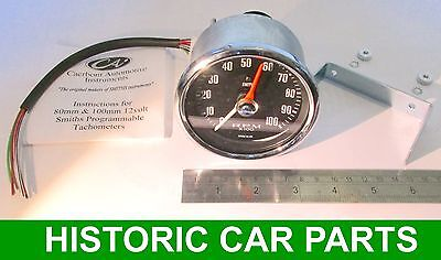 """REV COUNTER Tachometer - 3¼""""  (80mm) dia 10,000rpm suit 1-12 cyl and Diesel eng"""