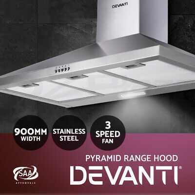 DEVANTi 900mm 90cm Rangehood Stainless Steel Range Hood Home Kitchen Canopy