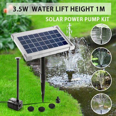 3.5w Solar Power Fountain 4 Heads Outdoor Pool Pond Water Pump Kit Submersible