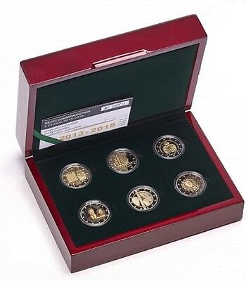 6 x Luxembourg 2013 - 2015 Proof National anthem to Euro flag with Box