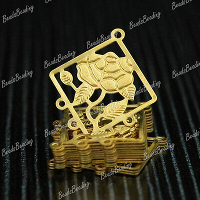 25Pcs Raw Brass Rhombus Filigree Chandelier Earring Components Cabochon MB0579