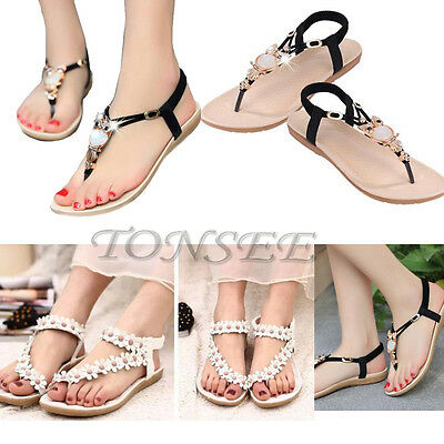 2016 Fashion Women Casual Sandals Shoes Flat Summer Bohemia Open Toe Flip Flops