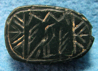 Canaanite Green Jasper Ancient Scarab Seal, Late Bronze Age, circa 1400 BC.