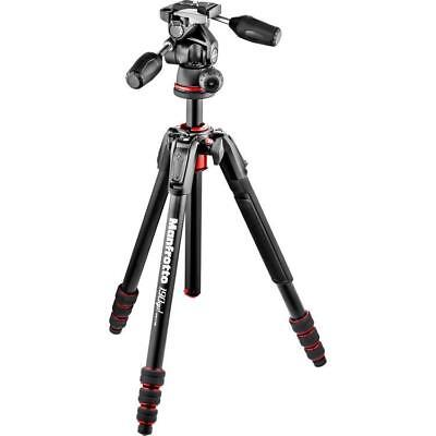 Manfrotto 190Go! 4-Section Aluminum Tripod Kit with 3-Way Head, Black