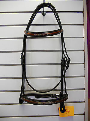 """NEW Edgewood Fancy Stitched Padded Bridle- 5/8""""- Full Size- Newmarket"""