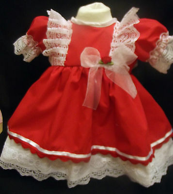Dream Baby Lined Red Spanish Dress Newborn 0-3 3-6  Months Reborn Dolls