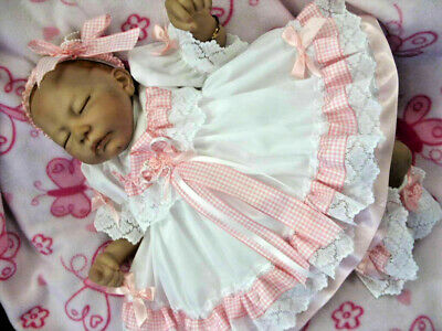 DREAM BABY GIRL WHTE PINK GINGHAM FRILLY  LINED DRESS HEADBAND  0-3 years reborn