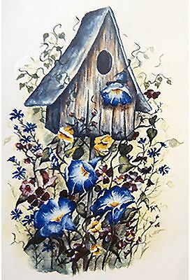 Birdhouse Blue Morning Glory Flower Select-A-Size Waterslide Ceramic Decals Xx